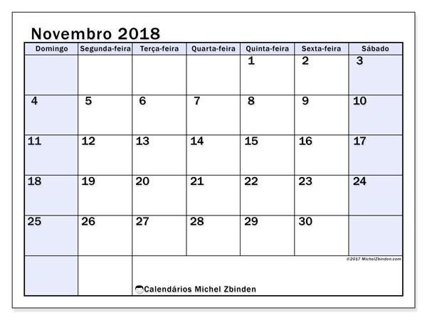 Calendário de novembro  de 2018 (57DS). Calendário gratuito para imprimir.