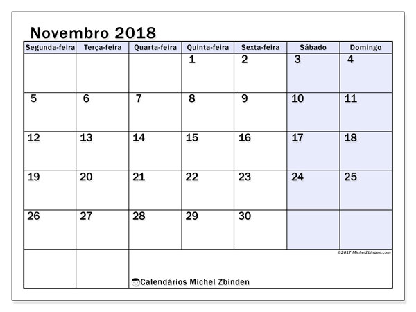 Calendário de novembro  de 2018 (57SD). Calendário gratuito para imprimir.
