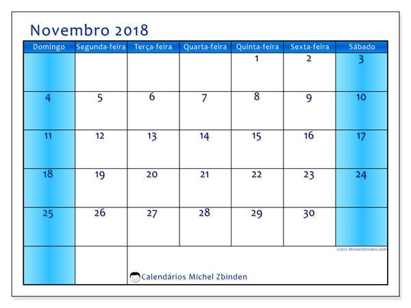 Calendário de novembro  de 2018 (58DS). Calendário para o mês para imprimir livre.