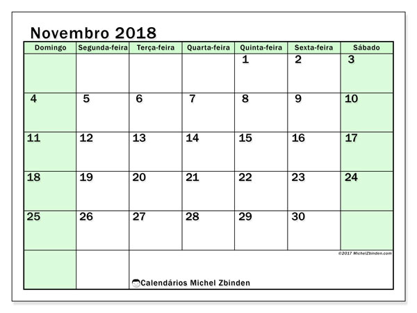 Calendário de novembro  de 2018 (60DS). Calendário gratuito para imprimir.