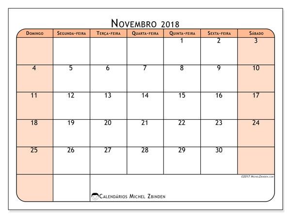 Calendário de novembro  de 2018 (61DS). Calendário mensal para imprimir gratuitamente.