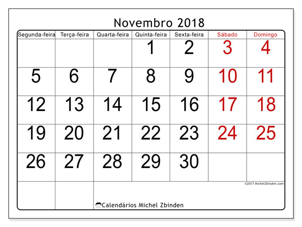 Calendário de novembro  de 2018 (62SD). Calendário para imprimir gratuitamente.