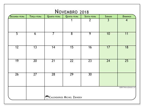 Calendário de novembro  de 2018 (65SD). Calendário gratuito para imprimir.