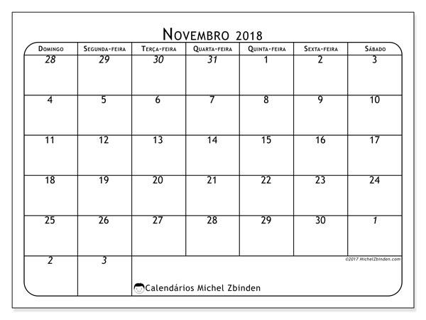 Calendário de novembro  de 2018 (67DS). Calendário para o mês para imprimir livre.