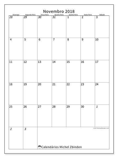 Calendário de novembro  de 2018 (68DS). Calendário para imprimir gratuitamente.
