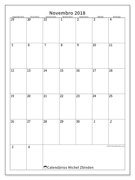 Calendário de novembro  de 2018 (68SD). Calendário para o mês para imprimir livre.