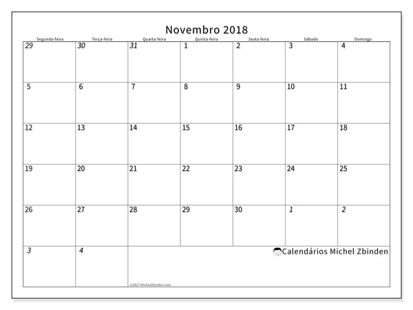 Calendário de novembro  de 2018 (70SD). Calendário para o mês para imprimir livre.