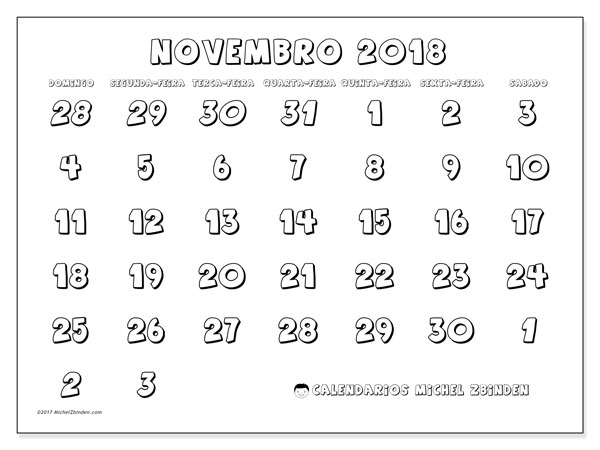 Calendário de novembro  de 2018 (71DS). Agenda para imprimir livre.