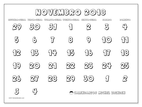 Calendário de novembro  de 2018 (71SD). Agenda para imprimir livre.