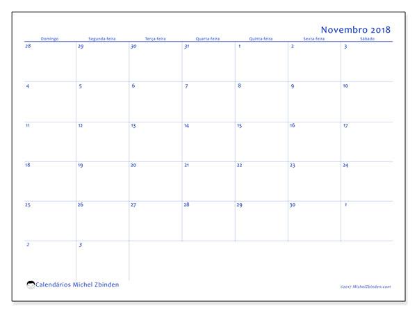 Calendário de novembro  de 2018 (73DS). Calendário para o mês para imprimir livre.