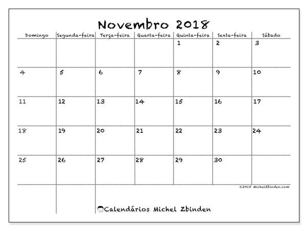 Calendário de novembro  de 2018 (77DS). Calendário para imprimir livre.