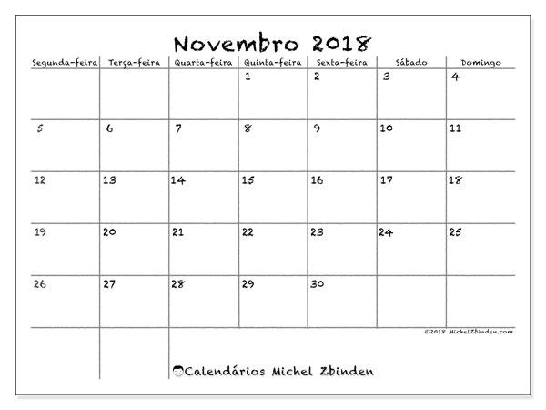 Calendário de novembro  de 2018 (77SD). Calendário para o mês para imprimir livre.
