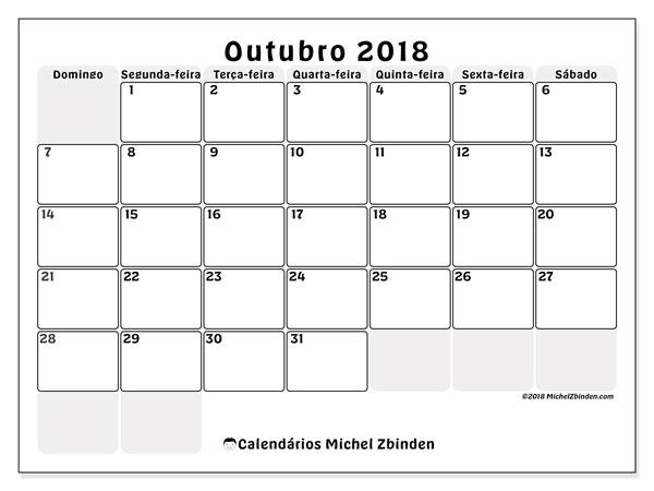 Calendário de outubro  de 2018 (44DS). Calendário para imprimir gratuitamente.