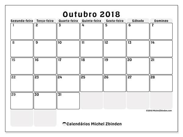 Calendário de outubro  de 2018 (44SD). Calendário mensal para imprimir gratuitamente.