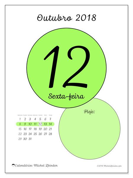 Calendário de outubro  de 2018 (45-12SD). Calendário diário para imprimir gratuitamente.