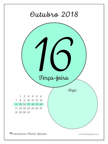 Calendário de outubro  de 2018 (45-16DS). Calendário para o dia imprimir grátis.