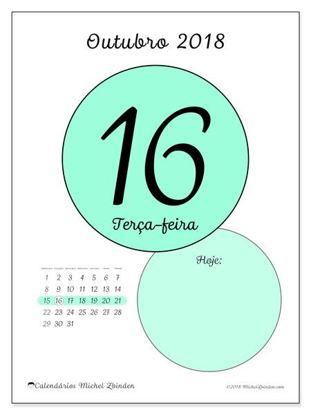 Calendário de outubro  de 2018 (45-16SD). Calendário diário para imprimir gratuitamente.