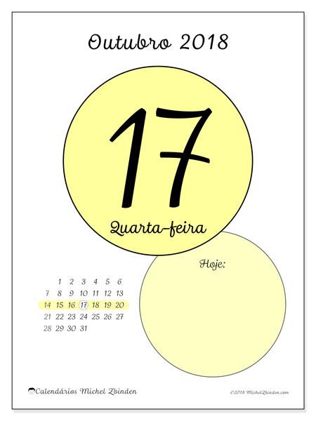 Calendário de outubro  de 2018 (45-17DS). Calendário diário para imprimir gratuitamente.