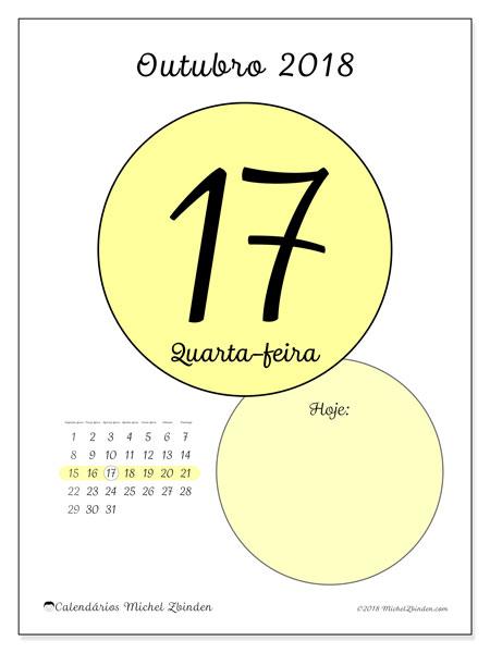 Calendário de outubro  de 2018 (45-17SD). Calendário para o dia imprimir grátis.
