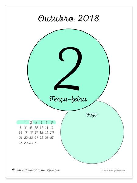 Calendário de outubro  de 2018 (45-2DS). Calendário para o dia imprimir grátis.