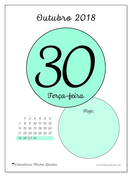 Calendário de outubro  de 2018 (45-30DS). Calendário para o dia imprimir grátis.