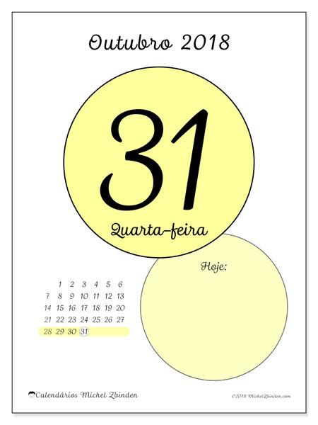 Calendário de outubro  de 2018 (45-31DS). Calendário para o dia imprimir grátis.