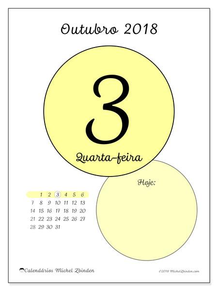 Calendário de outubro  de 2018 (45-3DS). Calendário diário para imprimir gratuitamente.