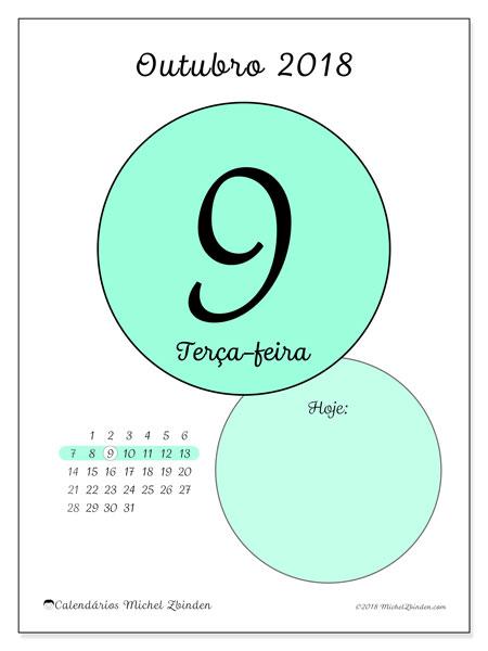 Calendário de outubro  de 2018 (45-9DS). Calendário diário para imprimir gratuitamente.