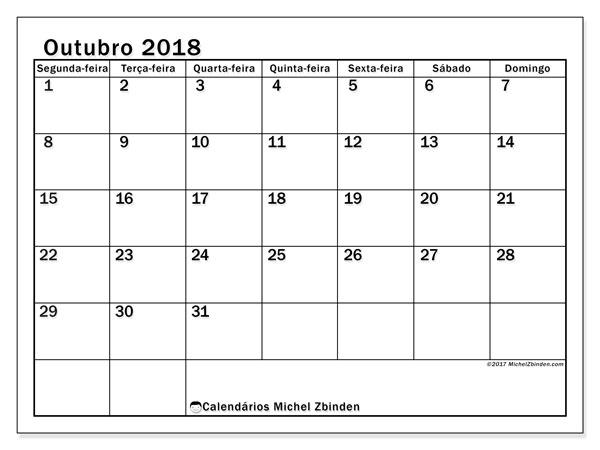 Calendário de outubro  de 2018 (50SD). Calendário mensal para imprimir gratuitamente.