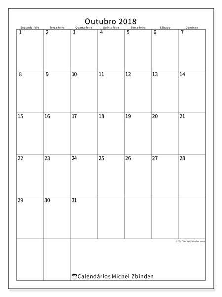 Calendário de outubro  de 2018 (52SD). Calendário para imprimir gratuitamente.