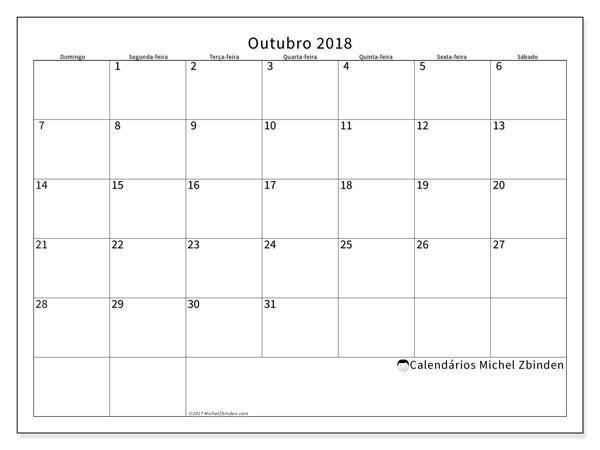 Calendário de outubro  de 2018 (53DS). Calendário gratuito para imprimir.