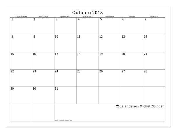 Calendário de outubro  de 2018 (53SD). Calendário gratuito para imprimir.