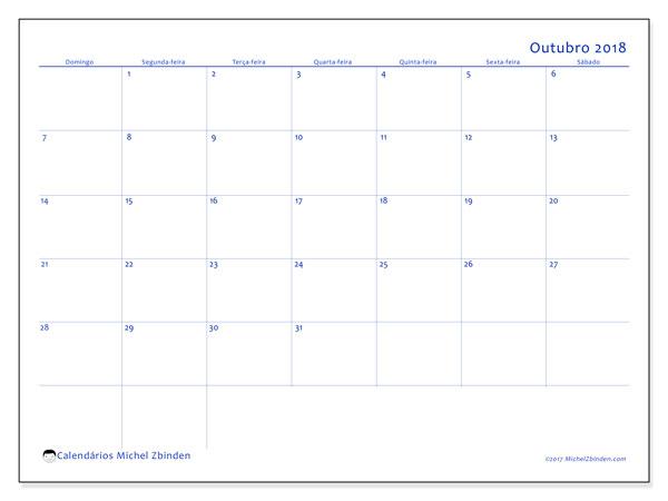Calendário de outubro  de 2018 (55DS). Calendário mensal para imprimir gratuitamente.