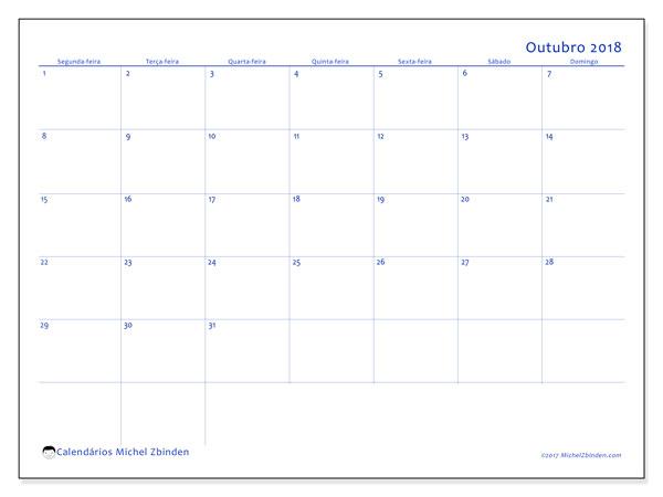 Calendário de outubro  de 2018 (55SD). Calendário para o mês para imprimir livre.