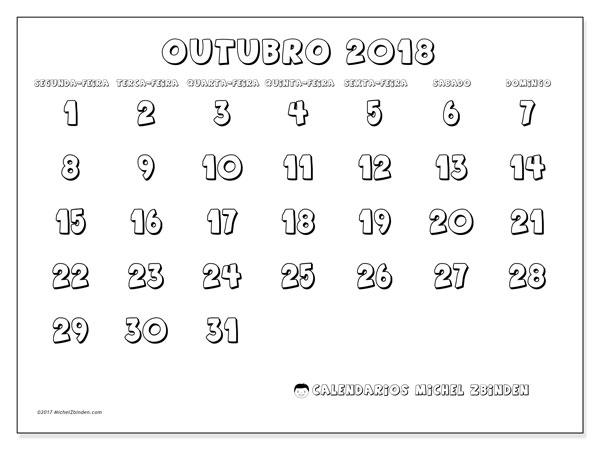 Calendário de outubro  de 2018 (56SD). Calendário para imprimir livre.