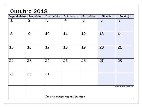 Calendário de outubro  de 2018 (57SD). Calendário para o mês para imprimir livre.