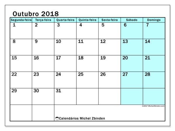 Calendário de outubro  de 2018 (59SD). Calendário gratuito para imprimir.