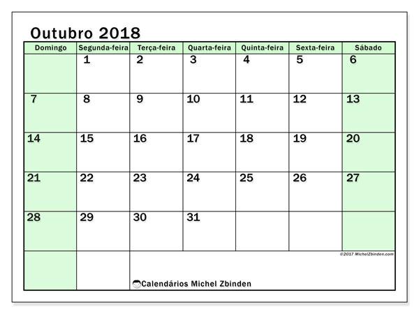 Calendário de outubro  de 2018 (60DS). Calendário para o mês para imprimir livre.