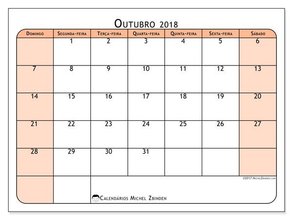 Calendário de outubro  de 2018 (61DS). Agenda para imprimir livre.