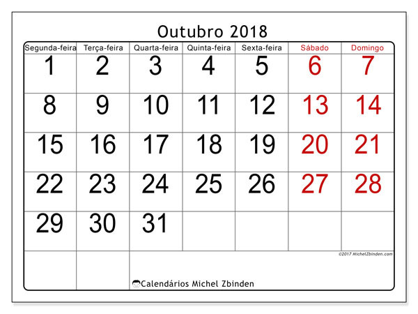 Calendário de outubro  de 2018 (62SD). Horário para imprimir livre.