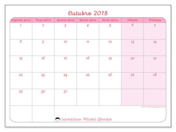 Calendário de outubro  de 2018 (63SD). Agenda para imprimir livre.