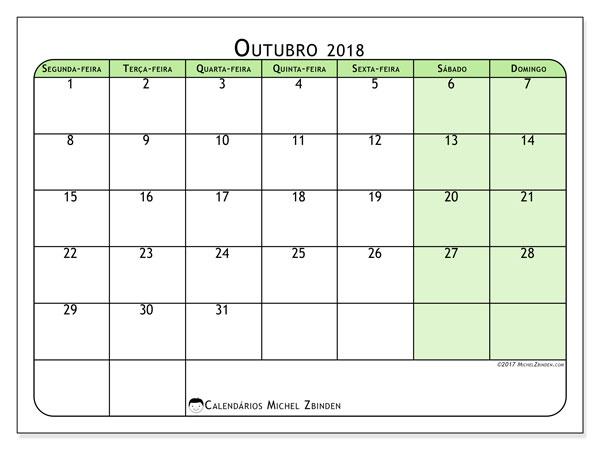 Calendário de outubro  de 2018 (65SD). Calendário para imprimir gratuitamente.