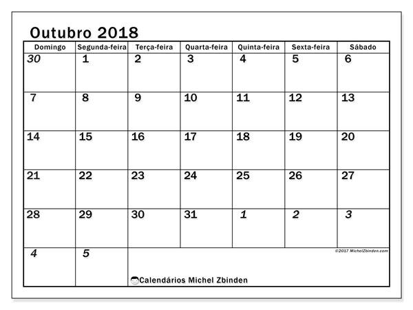 Calendário de outubro  de 2018 (66DS). Calendário para imprimir gratuitamente.