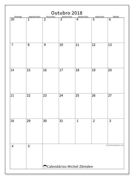 Calendário de outubro  de 2018 (68DS). Calendário para imprimir gratuitamente.