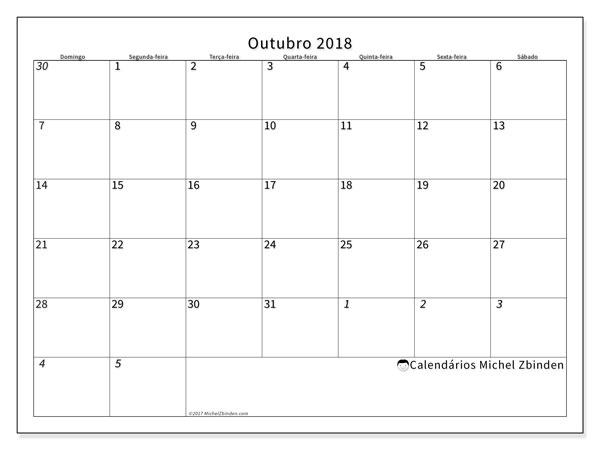 Calendário de outubro  de 2018 (70DS). Calendário para o mês para imprimir livre.