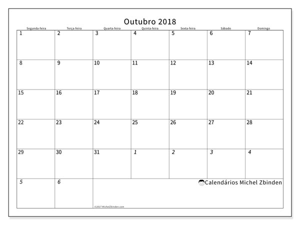 Calendário  outubro de 2018, 70SD