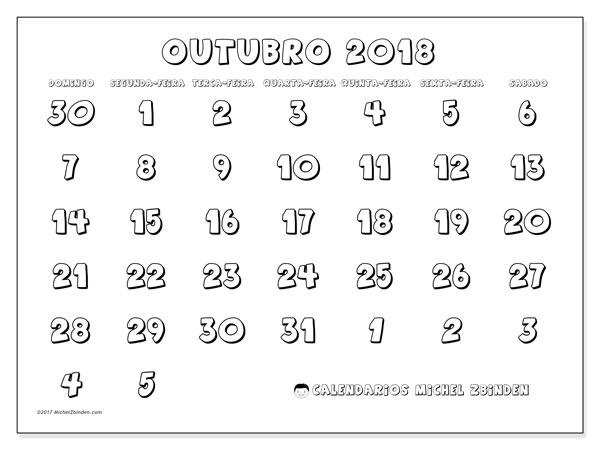 Calendário de outubro  de 2018 (71DS). Calendário para o mês para imprimir livre.