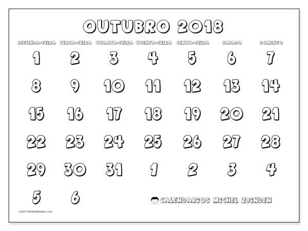 Calendário de outubro  de 2018 (71SD). Calendário para imprimir livre.