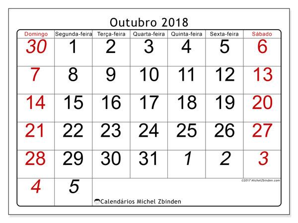 Calendário de outubro  de 2018 (72DS). Calendário para imprimir livre.