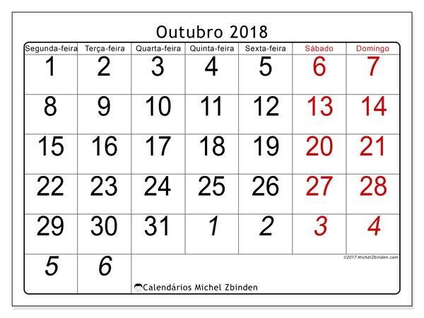 Calendário de outubro  de 2018 (72SD). Calendário para imprimir gratuitamente.